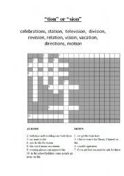 english worksheets tion or sion crossword. Black Bedroom Furniture Sets. Home Design Ideas
