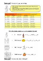 English worksheet: Have Has Got plus Personal Pronouns Haloweenish ooooooo