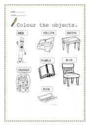 english worksheet classroom objects and colours