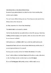 English Worksheets: Interesting facts about different things