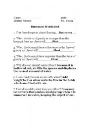 worksheets buoyancy worksheet opossumsoft worksheets and printables. Black Bedroom Furniture Sets. Home Design Ideas