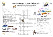 English Worksheet: Describing people - character