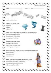 English Worksheet: The Wonderful Wizard of Oz, Chapter 1- Quiz