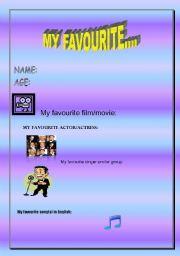 English worksheet: MY FAVOURITE...