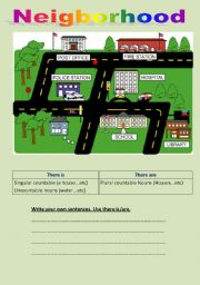 English Worksheets: Neighborhoods There is/are