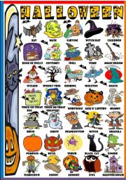 English Worksheet: HALLOWEEN- PICTURE DICTIONARY (B&W VERSION INCLUDED)
