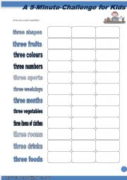 English Worksheets: A 5-Minute-Challenge for Kids (1)