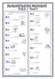 English worksheets: demonstrative pronouns worksheets, page 3