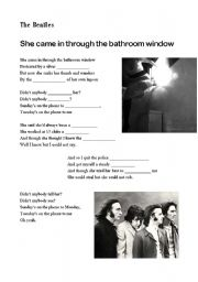 English teaching worksheets the bathroom for She came in through the bathroom window beatles