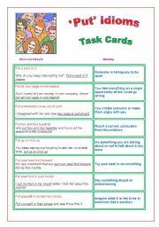´Put´ Idioms : Task Cards