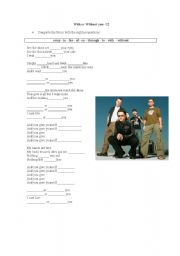 English Worksheets: With or Without you by U2
