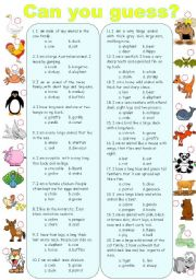 English Worksheet: Can you guess? ( animals )