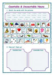 English Worksheets: countable & uncountble nouns