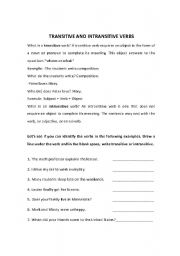 English teaching worksheets: Transitive and intransitive verbs