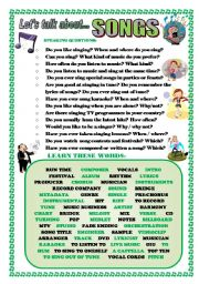 English Worksheet: LET�S TALK ABOUT SONGS (SPEAKING SERIES 84)