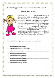 English Worksheets: Daily Routines - Mary�s Typical Day