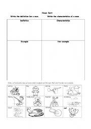 English worksheets: Noun Sort
