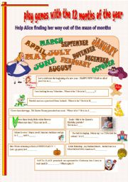 English Worksheet: months and seasons with Alice