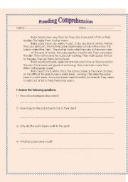 English Worksheets: Reading Comprehension on polar bears