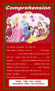 English Worksheets: Comprehension - Disney Princesses Celebrate Christmas