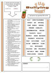 English Worksheet: Fun Sheet Theme: Bullying