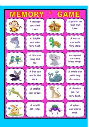 English Worksheets: Animals in/abilites!