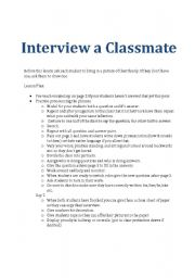 interview classmate essay Interviewing for class projects preparation: the more structure and preparation you demonstrate to the person you are interviewing writing an interview essay.
