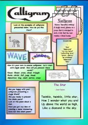English Worksheets: Calligrams - learn and have fun!