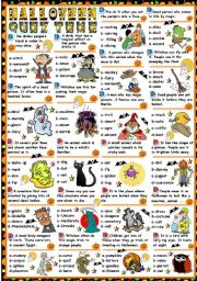 English Worksheets: HALLOWEEN-QUIZ TIME (B&W VERSION+KEY INCLUDED)