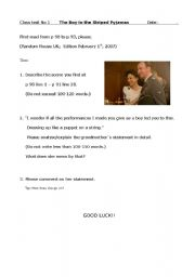 English Worksheet: boy in the striped pyjamas class test