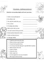 English Worksheets: Animal expressions
