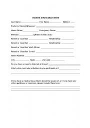 English Worksheets: Student Information Sheet