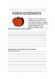 English Worksheets: Pumpkin advertisments