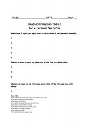 english worksheets brainstorming sheet. Black Bedroom Furniture Sets. Home Design Ideas