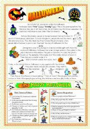 Halloween - reading & key (fully editable)