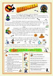 English Worksheet: Halloween - reading & key (fully editable)