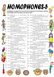 English Worksheet: HOMOPHONES-5 (Editable with Key)
