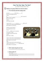 English Worksheet: Have you ever seen the rain? by Creedence Clearwater Revival