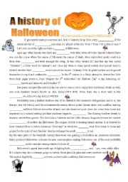 English Worksheet: A History of Halloween : VIDEO ( 4 pages )