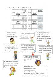 English Worksheets: TIMETABLES