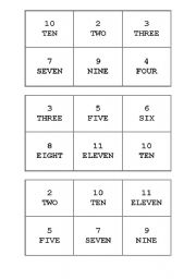 English worksheet: Numbers 1 to 12 Bingo