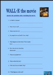 English Worksheets: Wall-E the Movie