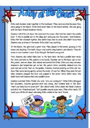English Worksheet: A day at the Beach - Reading Comprehension