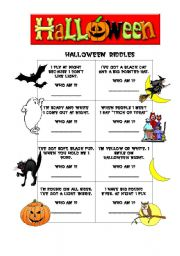English Worksheets: HALLOWEEN RIDDLES
