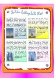English Worksheet: Reading - The Tallest Buildings In The World