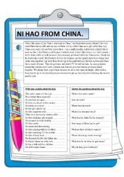 English Worksheet: Ni Hao from China. Reading.