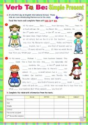English Worksheet: Verb to be: Simple Present   -    Focus on Reading + Writing skills + Grammar  (90-minute class)