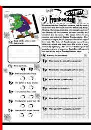 English Worksheets: RC Series_Scary Edition_03 Frankenstein (Fully Editable + Key)