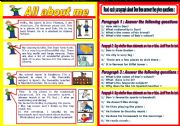 English Worksheet: All about me worksheet