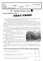 test about fast food